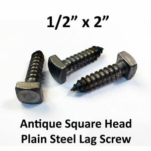 100 1 2 X 2 Antique Lag Screws Square Head Plain Steel Blacksmith