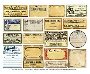 18 Apothecary Labels Sticker Sheet Druggist Labels Drug Store Pharmacy Decor