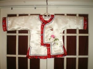 Nice Old Chinese White Silk Jacket Robe W Red Trim Embroidered Butterflies Sz