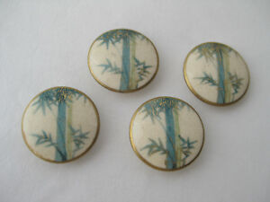 Set Of 4 Antique Japanese Satsuma Porcelain Buttons With Bamboo Design