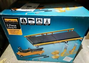 Halfords 5 Piece Lifting Kit Safe 2 X 2 Tonne Axle Stands 3 Height Positions