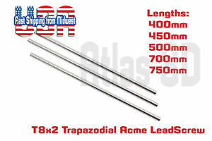 T8 2 Lead Acme Threaded Rod Lead Screw W Brass Nut 400mm 450mm 500mm To 800mm