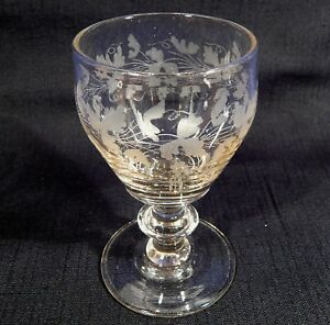Antique 1842 Toasting Wine Drinking Glass Engraved W Note Denmark Junget Family
