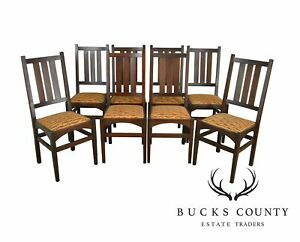 Gustav Stickley Harvey Ellis Antique Mahogany Set 8 Dining Chairs