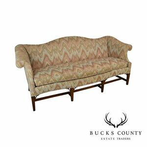 Hickory Chair Co Vintage Flame Stitch Mahogany Hepplewhite Style Sofa