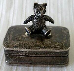 Antique Sterling Silver European Made Artisan Teddy Bear Ring Tooth Snuff Box