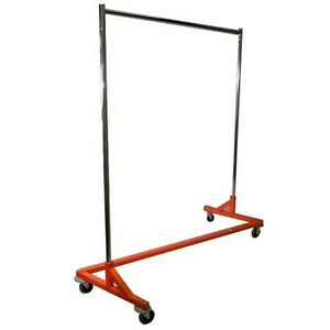 New Nib Z rack Orange Retail Store home 4 Wheels Adjust Upright To 80 H