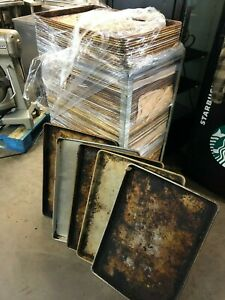 Lot Of 100 Commercial Heavy Duty Full Size 18x26 Sheet Pans Dirty Pans W cart