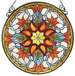 23 2 X 23 2 Victorian Fire Tiffany Style Stained Glass Window Panel Decor