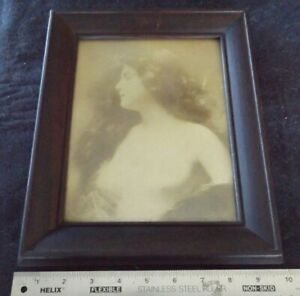 Antique Victorian Framed Photo Of Young Woman Skimpy Dress