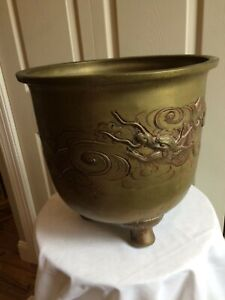 Antique Bronze Jardiniere Asian Chinese Dragon High Relief Planter Lg 14 15lb