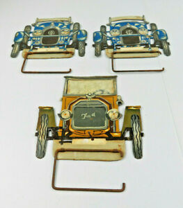 Vintage American Ford T Metal Toilet Paper Holder Rare Lot Of 3