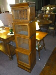 Antique Oak Bookcase Barrister Lawyers 1 2 Size Macey Leaded Glass Drawer Base