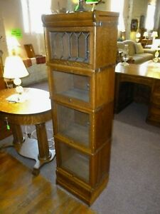 Antique Oak Bookcase Barrister Lawyers 1 2 Size Macey Leaded Glass Drawer Base 1