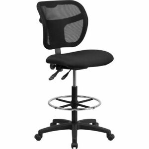 Mid back Mesh Drafting Chair With Black Fabric Seat Flawla7671sygbkdgg