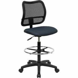 Mid back Mesh Drafting Chair With Navy Blue Fabric Seat Flawla277nvydgg