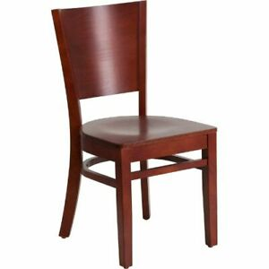 Lacey Series Solid Back Mahogany Wooden Restaurant Chair Flaxudgw0094bmahmahgg