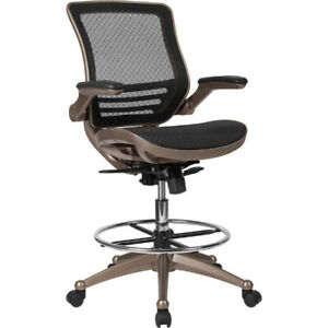 Mid back Transparent Black Mesh Drafting Chair With Melrose Gold Frame And