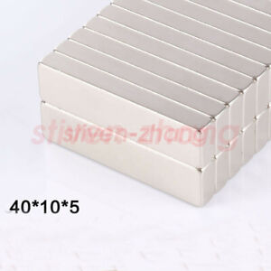 Lots 40mm X 10mm X 5mm Bar Block Strong Cuboid Magnets Rare Earth Neodymium N50