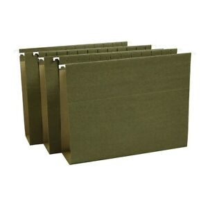 Staples Hanging File Folders Bx Bottom 3 Expansion Letter Gn 25 bx 418376