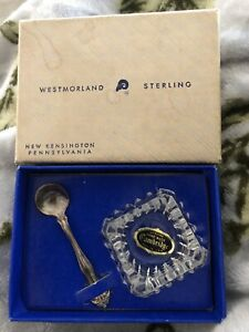 Westmorland Sterling Silver Salt Dish Cellar Spoon Cambridge Glass In Box