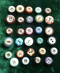 Antique Lot Of 29 Different Pattern Stencil And Other China Clothes Buttons