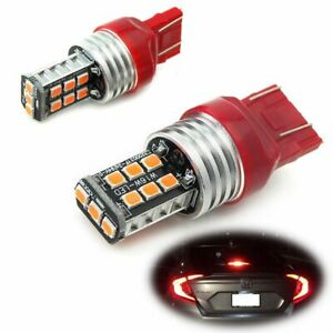Pair 7443 7440 Red Led Strobe Blinking Taillight Brake Light Stop Parking Bulbs