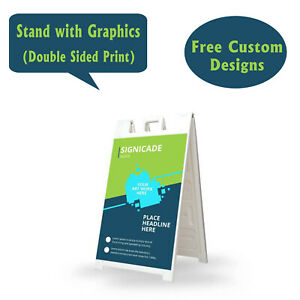 Signicade A Frame Sidewalk Pavement Sign Double Sided Sandwich Board White
