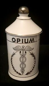 Antique Vintage Opium Apothecary Ceramic Jar W Lid Stash Jar St Pierre Patterson