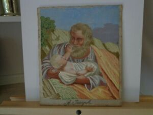 Antique Religious Needlework Embroidery On Silk Of St Joseph With Baby Jesus