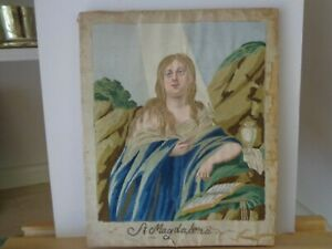 Antique Religious Needlework Embroidery On Silk Of Saint Magdalena Circa 1800