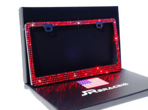 Luxury 4 Row Red Crystal Rhinestone Embedded Black License Plate Frame Gift Box