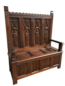 Antique French Gothic Bench Storage Bench Church Bench 1900 S Oak
