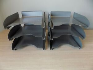 2 Vintage All steel 3 Tier Metal Paper Letter Organizer Paper Tray Legal Size