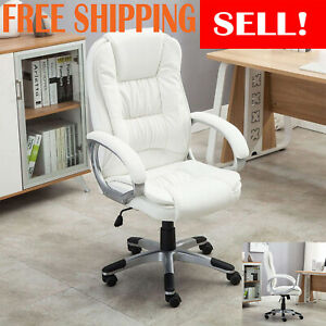 New Executive High Back White Pu Leather Executive Office Chair Home Desk Chair
