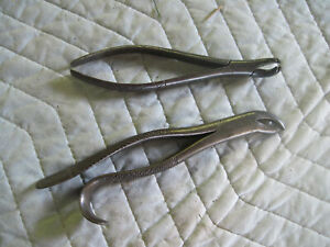 2 Pair Vintage Dental Pliers Dentist S Tooth Pulling Tools Orthodontic