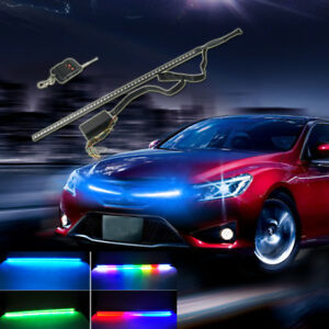 For Under Hood Behind Grille 24 7 Color Rgb Led Knight Rider Remote Strip Light