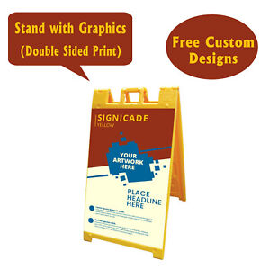 Signicade A Frame Sidewalk Pavement Sign Double Sided Sandwich Board Yellow