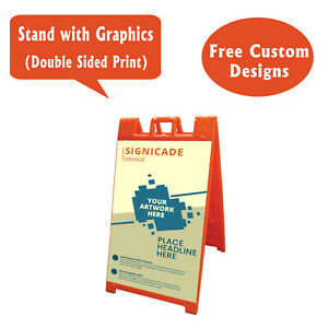 Signicade A Frame Sidewalk Pavement Sign Double Sided Sandwich Board Orange
