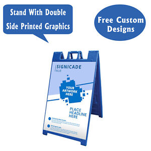 Signicade A Frame Sidewalk Pavement Sign Double Sided Sandwich Board Blue