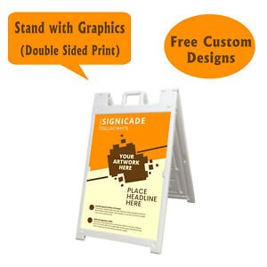 Signicade A Frame Sidewalk Pavement Sign Double Sided Sandwich Board Dlx White