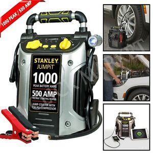 Battery Jump Starter Air Compressor 1000 Peak Portable Car Charger Power Booster