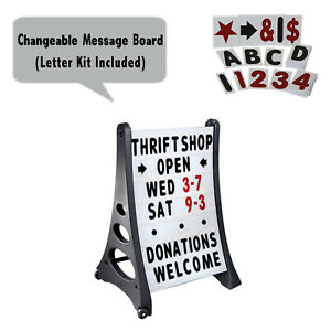 Two Sided Quick Load A frame Message Board Changing Letter Sidewalk Sign White