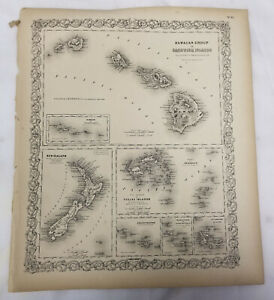 Antique Colton S Atlas Map Of Hawaii Sandwich Islands South Pacifc Tribal