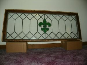 Vintage Stained Glass Window Panel With Green Fleur De Lis 48 X 19
