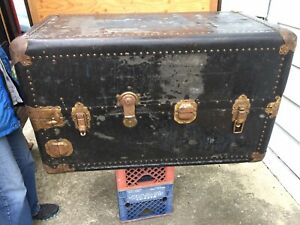 Vintage Old Wardrobe Steamer Rail Trunk Chest Drawers Hangers