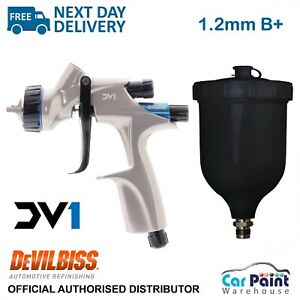 Devilbiss Dv1 Hvlp 1 2mm B Plus Gravity Feed Spray Gun Basecoat B Air Cap W Cup