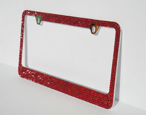 2 Pcs 7 Rows Red Color Bling Crystal Rhineston Metal License Plate Frame