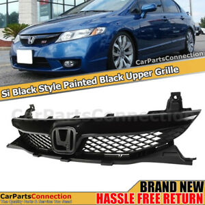 Front Center Grille For Honda Civic 09 11 Sedan 4dr Si Style Glossy Black Trim