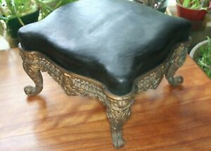 Fancy Antique Cast Iron Foot Stool Vintage Victorian Ornate Era
